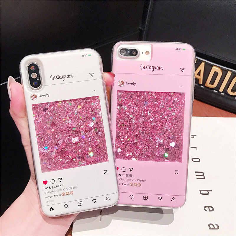 beae1f91a1b9 Instagram Case For Samsung Galaxy Note 9 8 S9 S8 Plus Capa Fashion Glitter  Liquid Quicksand