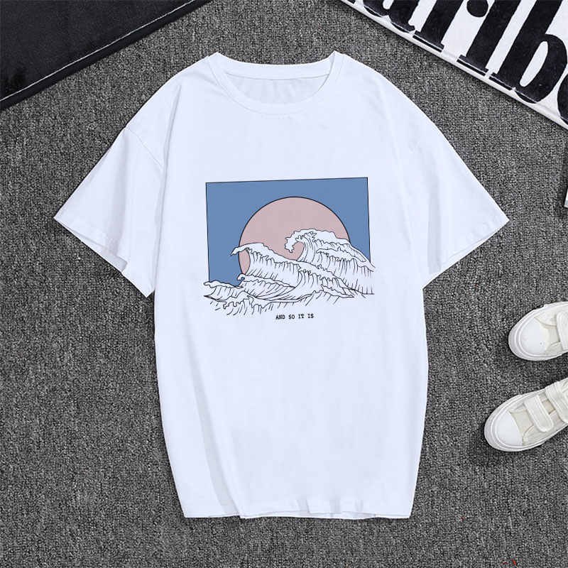New Fashion T-shirts For Women Summer Short Sleeve Great Wave Aesthetic Graphic Tees Women Harajuku Tops 90s White T Shirt Femme