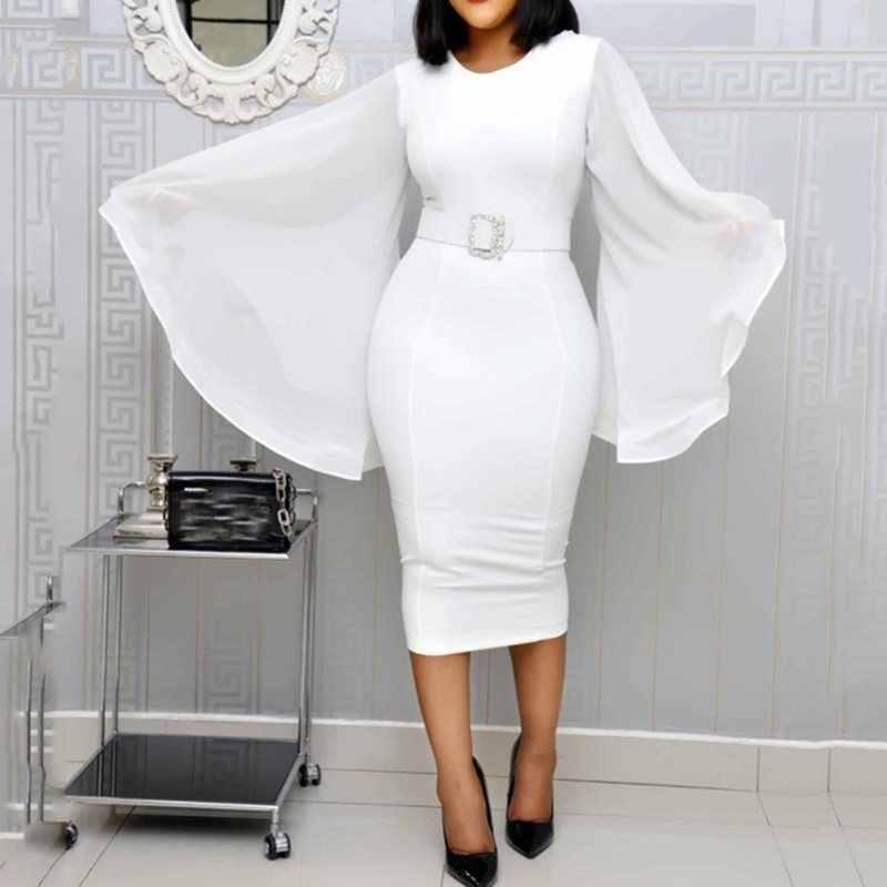 Белое элегантное вечернее платье для женщин 2019 черное офисное Модное шифоновое расклешенное с длинным рукавом сексуальное облегающее платье с поясом женские осенние платья миди