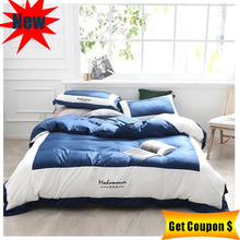 2019 new silk cotton multi-size 4pcs bedding set solid color duvet cover pillowcase bed sheet sets high quality home textile