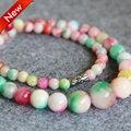 Новое Ожерелье 6-14 мм Натуральный Розовый и Зеленый нефрит бусины Джаспер Ожерелье женщины девушки Бусы 18 inch изготовление ювелирных изделий дизайн оптовая