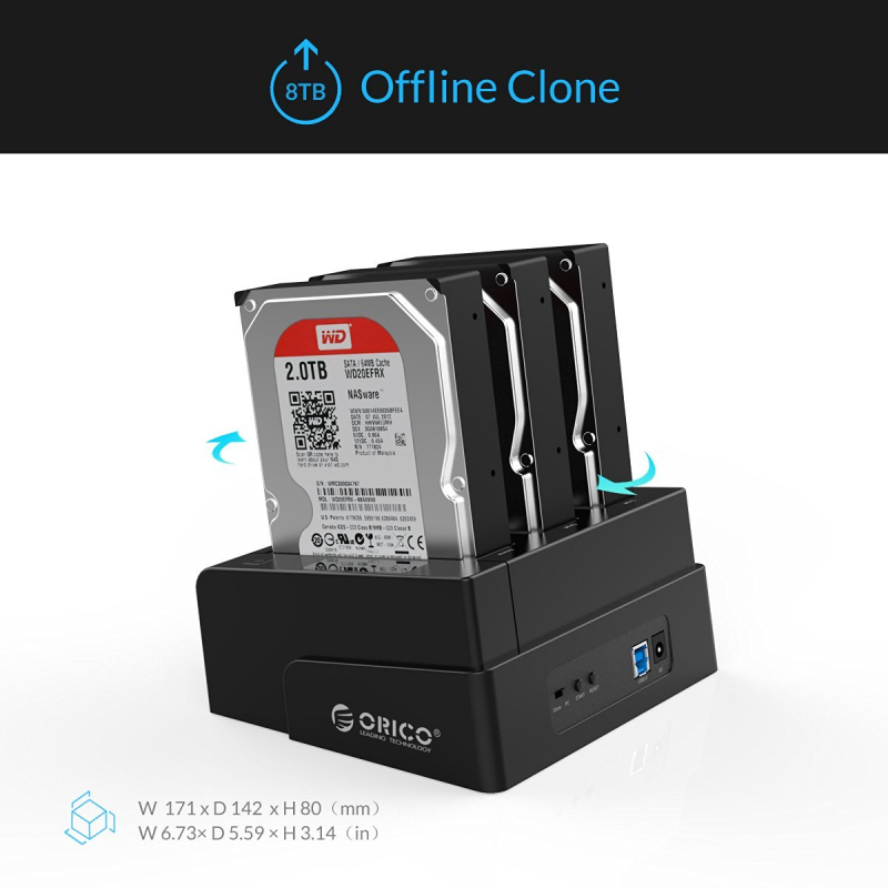 ORICO 3 Bay USB 3.0 HDD Dock Station for 2.5 3.5 inch SATA Hard Drive HDD Support Clone With 12V5A Power Adapter Support 18TB - 2