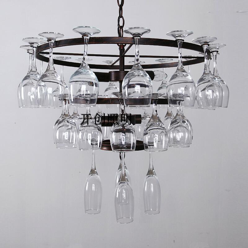 American Pastoral high foot glass creative Pendant lamps hotel bar lamp dining room living roomPersonality advocates lighting