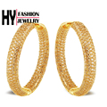 Deluxe 18k gold plated pave setting 558 PCS CZ Stone Large Hoop Earrings Women Round Earring Free Nickel Rock Accessory (hy1e)