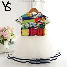 2-6 T Little Girls Short Sleeve Lace Mesh Abstract Drawing Princess Dress Kids Toddler Children Clothes 3 4 5Years