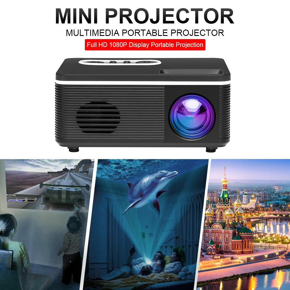New Mini Projector Full HD 1080P Display Portable Movie Projection Device Compatible for TV Stick PS4 HDMI TF AV USB