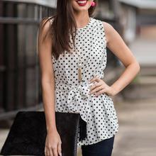 Summer Sleeveless Polka Dot Blouses Fashion O-Neck Women Elegant Slim Blouse Shirt Sexy Office Ladies Top WS8453V