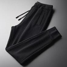 Minglu Knit Stripe Men Pants Plus Size 4xl Luxury Soft Vertical Stripe Casual Sports Mens Pants Autumn Slim Skinny Pants Men