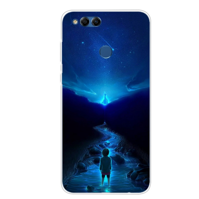 pretty nice 0b24d 2b830 Silicone Case For Huawei Honor 7X Soft Phone Case Space Stars Art Print  Back Cover For Huawei Honor 7X 7 X X7 Coque Clear Bumper