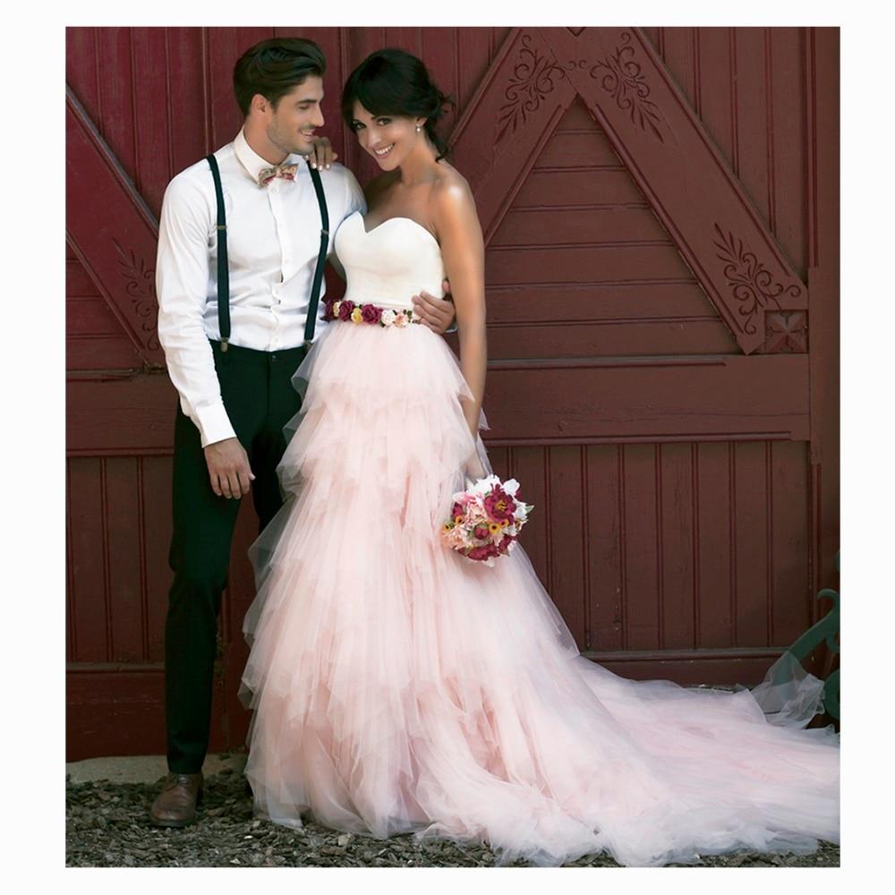 Fashion Elegant Romantic LOng Tulle SKirt Custom Made Ladies Pink Solid Wedding Skirt 2017 Long Tutu Skirts A Line Tiered