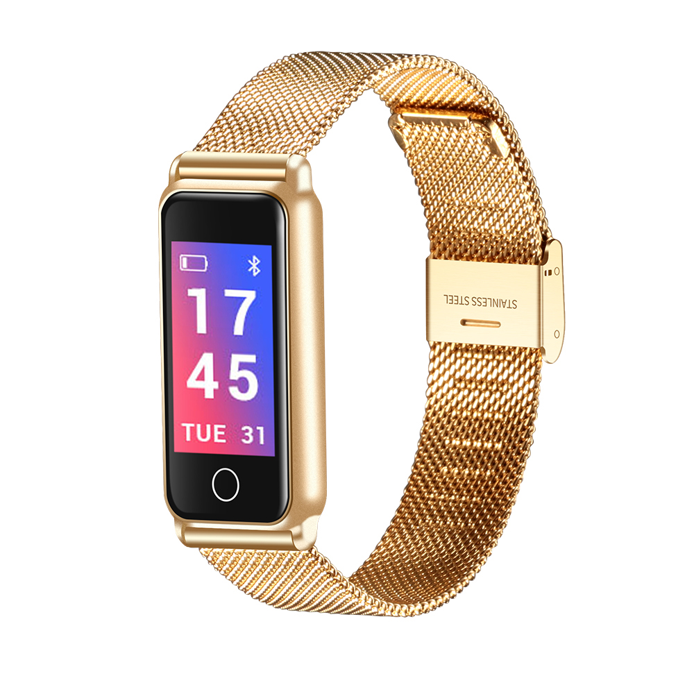 Rose Gold/Black/Silver Color Sport Smart Watch Women Stainless Steel Band Bluetooth Fitness Tracker Thin Dial Lady Bracelets Gif