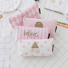Cute Canvas Pencil Case Kawaii Large Capacity Pencilcase School Pen Case Supplies Pencil Bag School Box Pencils Pouch Stationery недорого