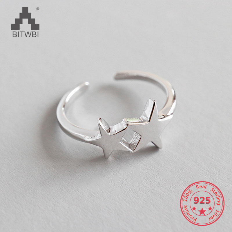 925 Sterling Silver Double Star Open Rings For Women Lady Fashion Jewelry 925 Sterling Silver Double Star Open Rings For Women Lady Fashion Jewelry