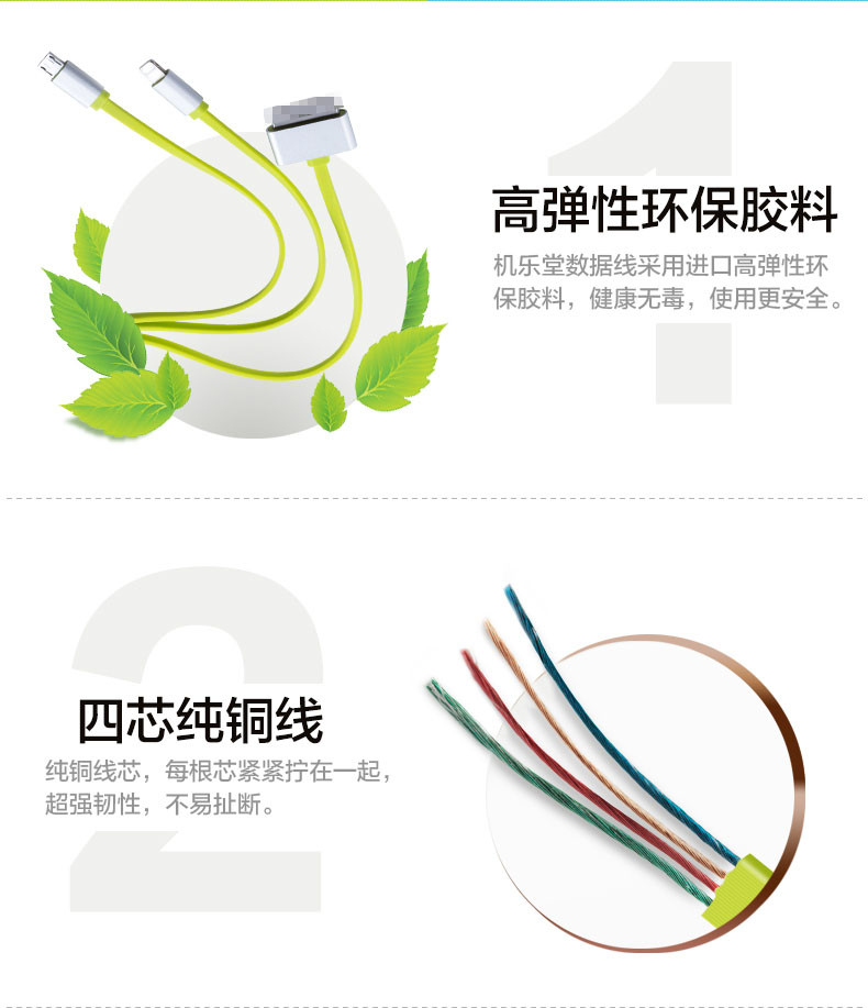 Joyroom I5 Micro USB 30 Pin For 8 Pin Lightning Cable 3 In 1 Cable For iPhone 4 (7)