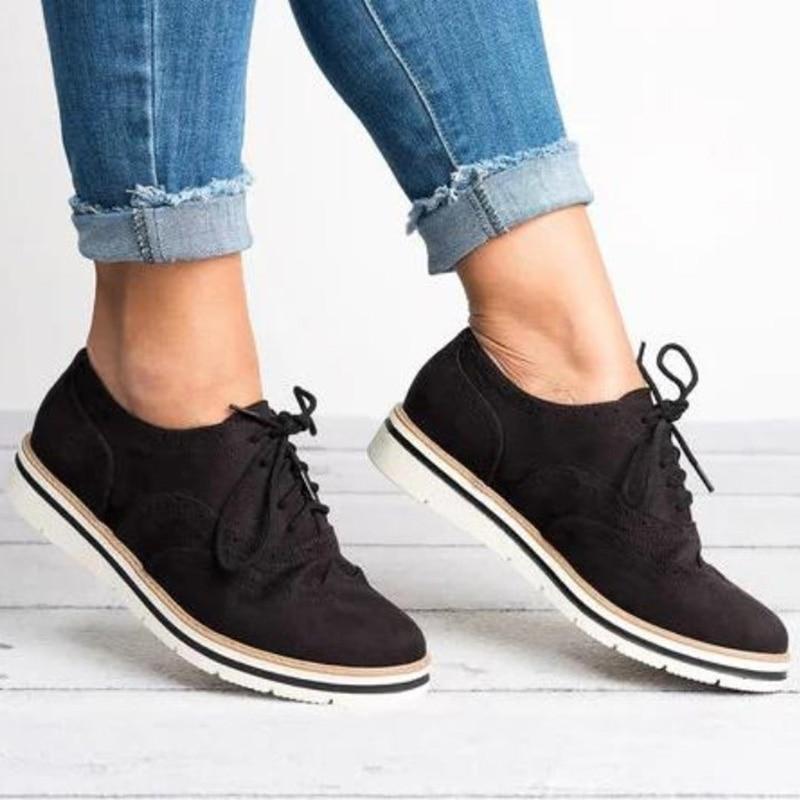 Chaussures Bottes Mode Lacets Automne gris Hiver À marron bleu 2018 Marque Cuir Casual Daim Noir Femmes En rose Dames iPuOkZTX