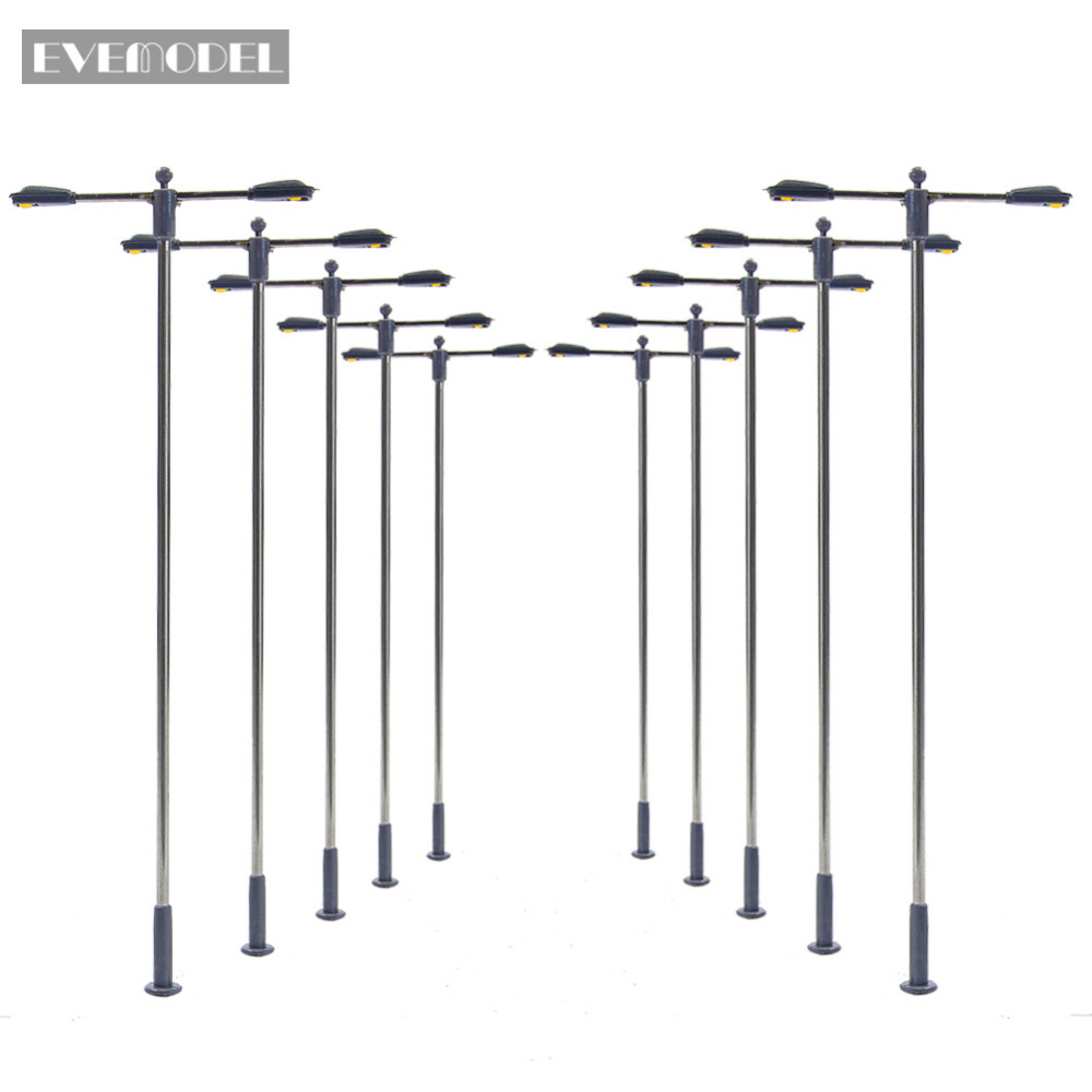 Image 1 - LQS12 10pcs Model Railway Train Lamp Post Two head Street Lights HO OO Scale LEDs NEW Miniature Layout White/WarmWhiteModel Building Kits   -