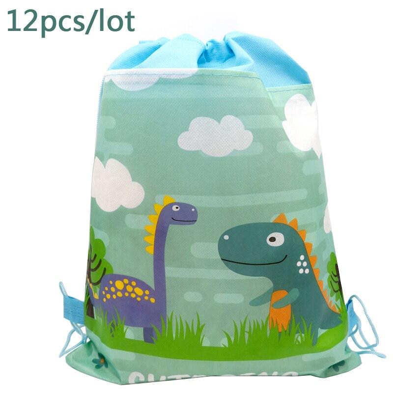 12PCS/LOT Happy Birthday Party Backpack Dinosaur Cartoon Theme Mochila Decora Non-woven Fabric Baby Shower Drawstring Gifts Bags