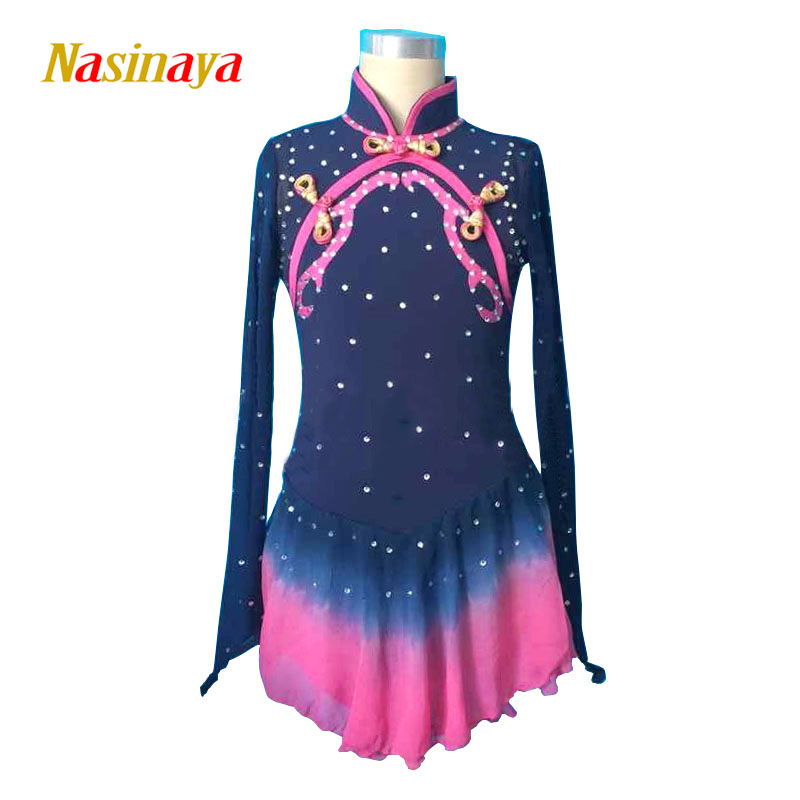 Customized Costume Ice Figure Skating Gymnastics Dress Competition Adult Child Girl Skirt Performance Black Chinese Style Collar pink black ice skating jackets for kids hot sale figure skating suits competition skating suits for children