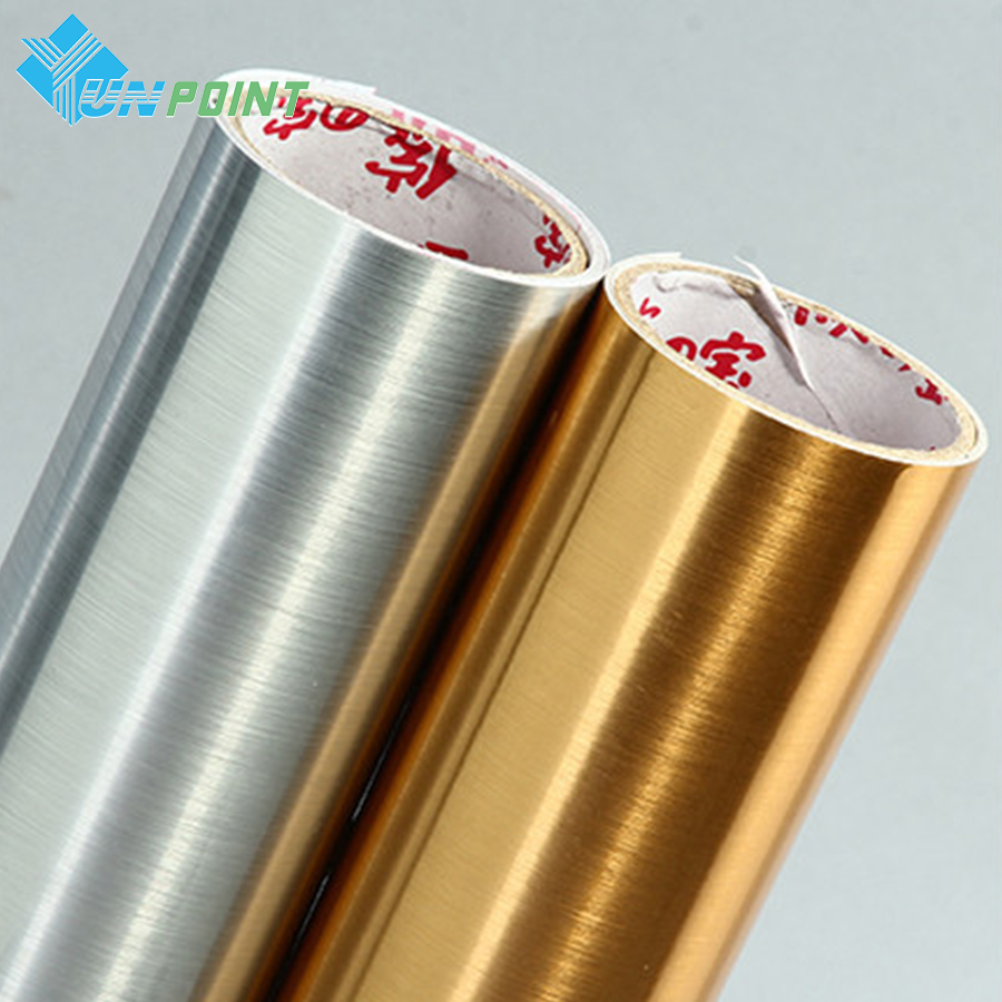 Gold Silvery Brush PVC Decorative Sticker Vinyl Self Adhesive Glitter Wallpaper Kitchen Cabinet Desktop Wall Stickers Waterproof
