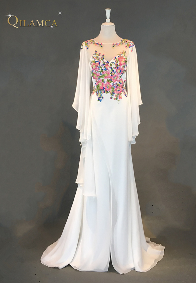 Real Photo 2018 White Long Sleeve Evening Dress Floor Length Saudi ...