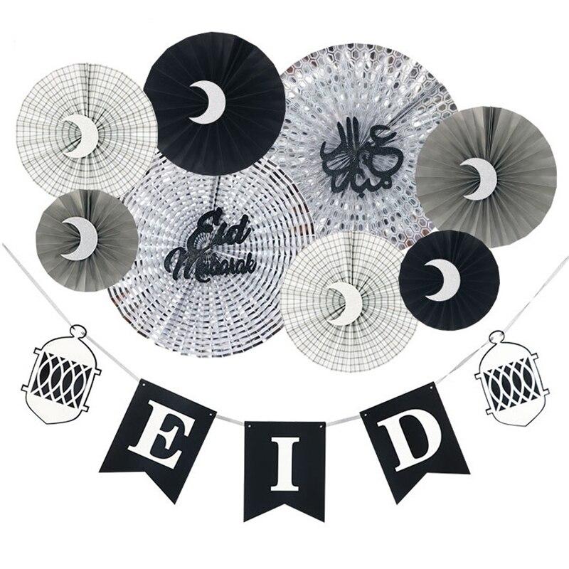 HAOCHU 9 pcs Arabe Islamique Musulman Mûr Ramadan Décorations pour La Maison Ventilateur De Papier de soie Party Set Fournisseur Festival Artisanat