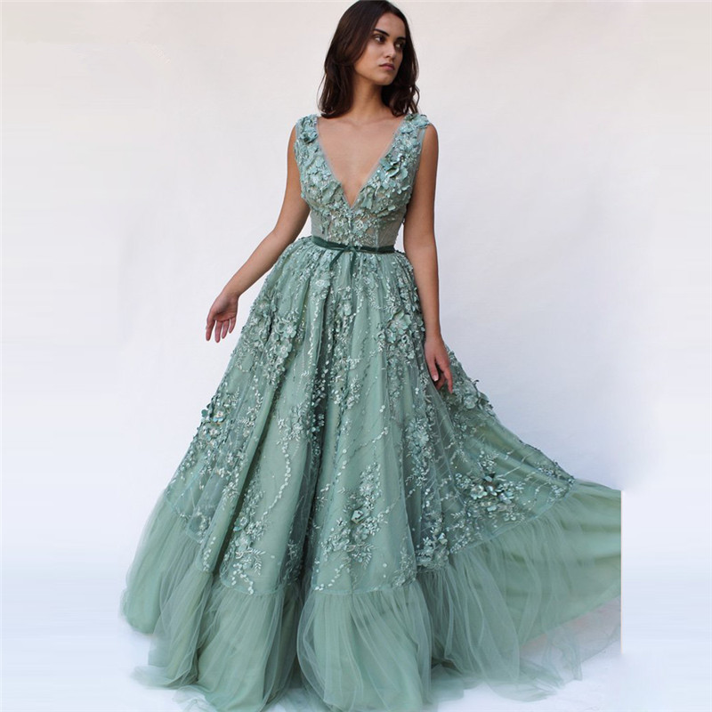 Mint Muslim   Evening     Dresses   2019 A-line V-neck Tulle Lace Flowers Pearl Long Islamic Dubai Saudi Arabic Long Formal   Evening   Gown