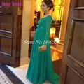 2015 hermosa verde para mujer banquete de boda vestidos formales vestidos de noche embarazadas mujeres de encaje de manga larga vestidos de noche
