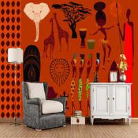 Papel de parede conception d'illustration africaine rétro 3d papier peint, salon tv canapé mur chambre restaurant bar mural