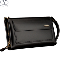 YINTE Business Men Wallet Long Designer Double Zipper Leather Male Purse Brand Mens Clutch Handy Bag