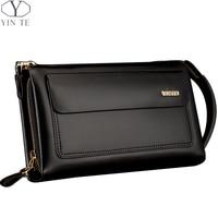 YINTE Business Men Wallet Long Designer Double Zipper Leather Male Purse Brand Mens Clutch Handy Bag