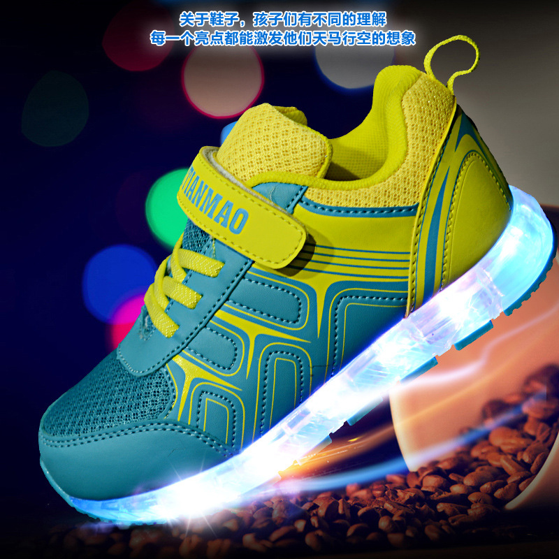 Children Luminous Sneakers with Led Light Boys Girls USB Charging Shoes Kids High Quality Glowing Sneakers 0027 little boys girls led light wings shoes for children fashion kids usb charging luminous sneakers glowing shoes