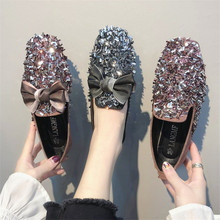 цены Designer Crystal bling Woman Big Size Flat Slip On Shoes Elegant Comfortable Lady Fashion Rhinestone Women Soft Girl Shoes 2019