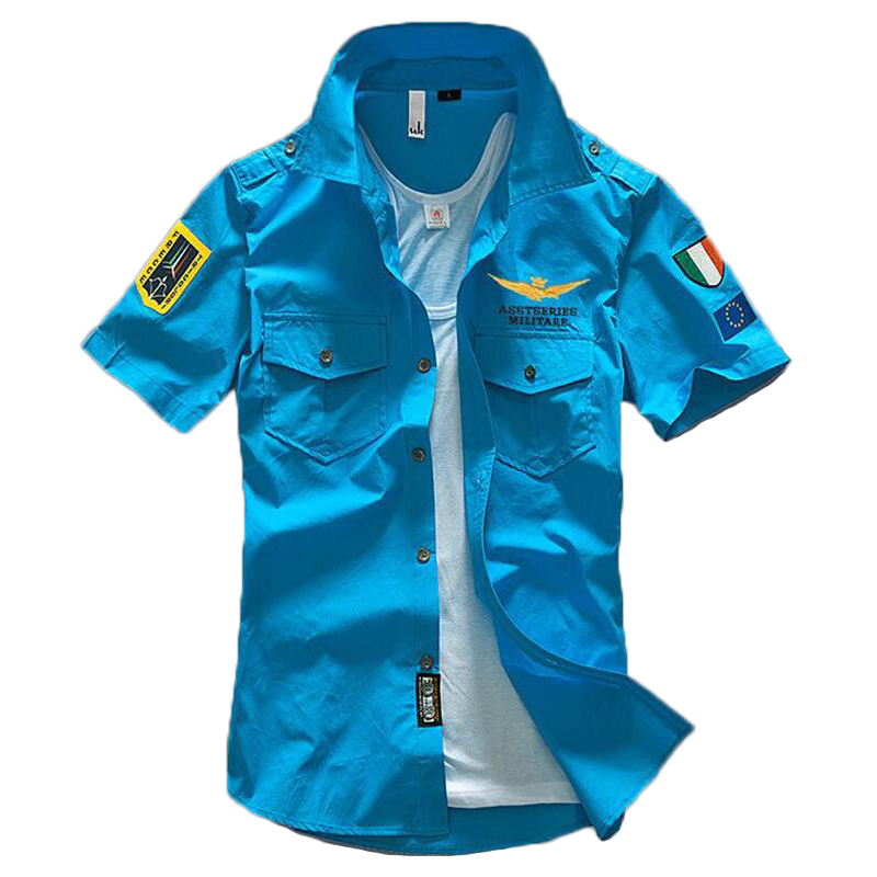 100% Baumwolle Shirts Männer Air Force Bestickt Ma1 Kurzarmhemd Armee T Sommer Camisas Chemise Homme Blusas Shirt