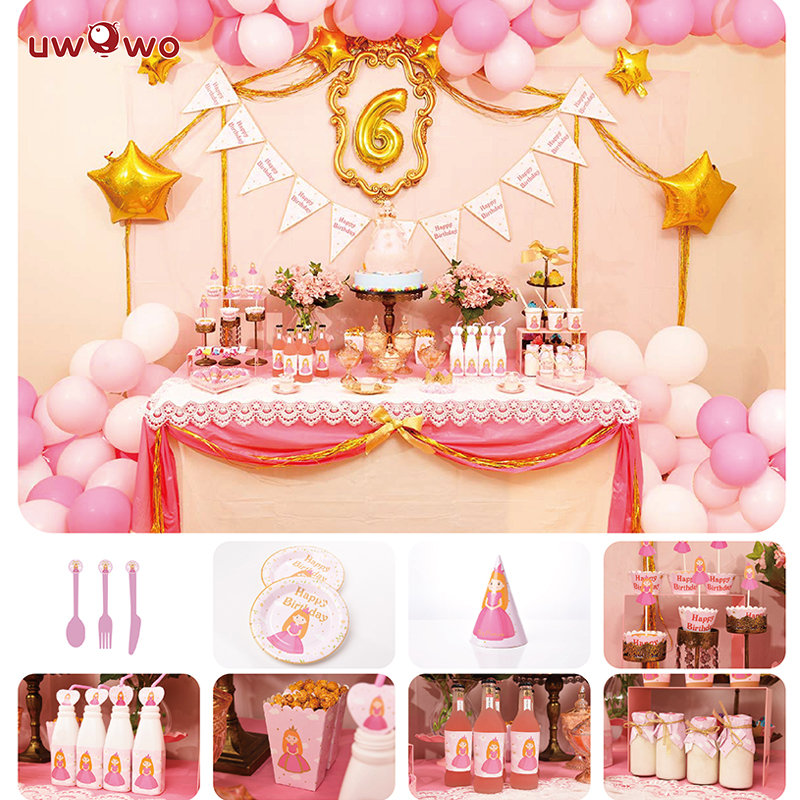 UWOWO  Birthday Party Decoration Little Princess Party Dec Full Set Welcome Party Ornament Cosplay Costume Party for Girl