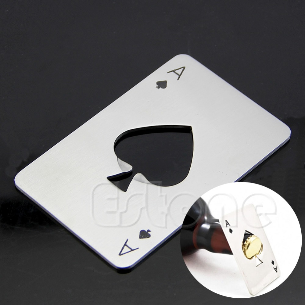 Soda Beer Cap Mens Gift Playing Card Ace of Spades Poker Bar Tool Bottle Opener