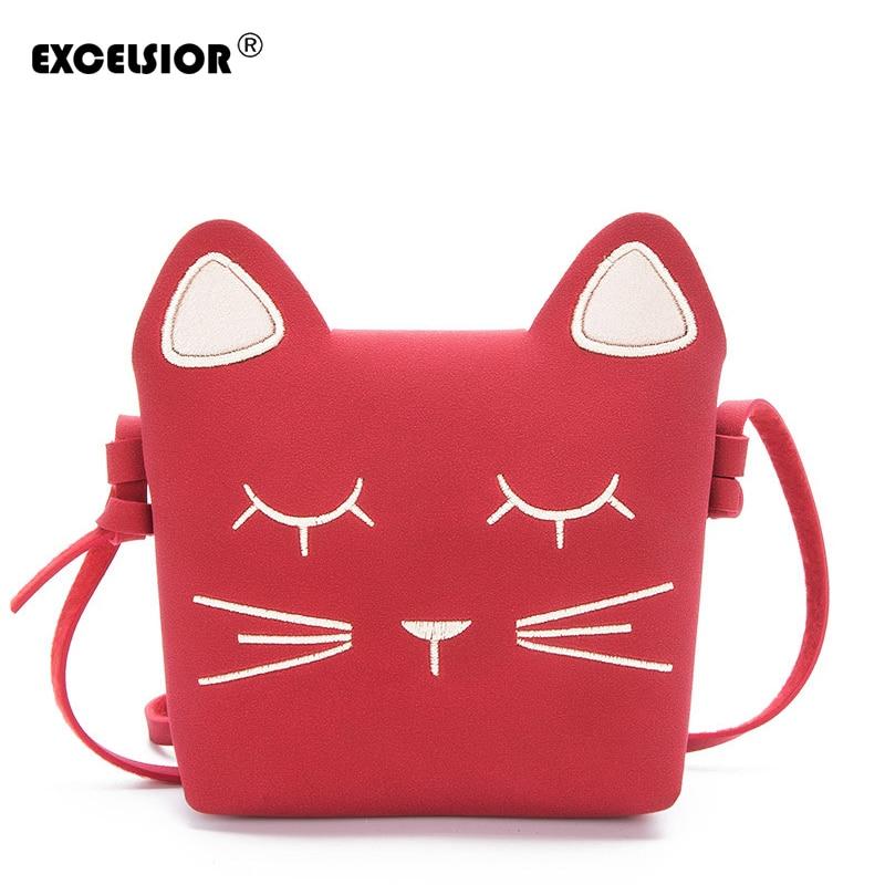 EXCELSIOR 2018 Cute Cartoon cat  Mini Shoulder Bag Crossbody Bags For Girls Leather Luxury Handbag Women Messenger Bags G1646