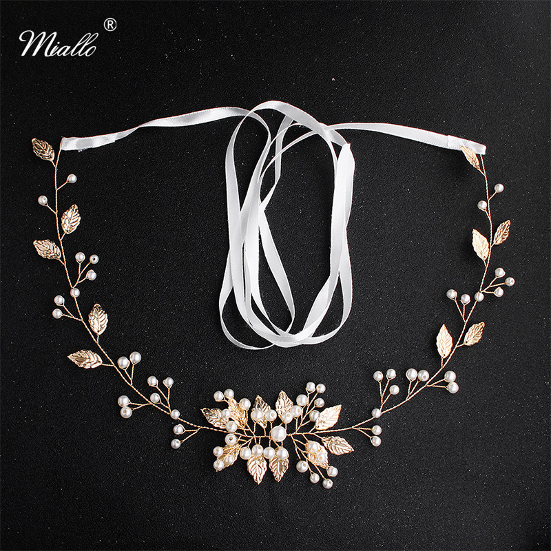 Miallo Newest Gold Flowers Sash Wedding Belts & Sashes Bridal Pearls Wedding Women Dress Accessories