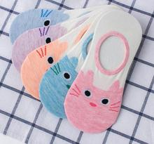 Free Shipping Women Sock Slippers Small Animal Cat Cartoon Short 100% Cotton Invisible socks Breathable Casual Ladies Funny S15 цены