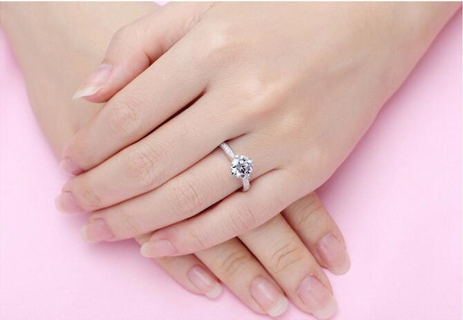 Argent pur 1.5 Carat haute teneur en carbone Diamant synthétique anniversaire mariage argent S925 bagues (JSA) - 6
