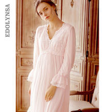 European Palace Style Vintage Night Dress Plus Size Lace Sleepwear New  Spring Long Pink Cotton Nightgowns Elegant Home Dress T41 7fae5384f
