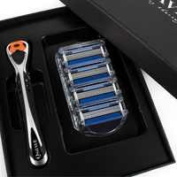 Qshave черная серебряная бритва для бритья Человек-паук с красивой подарочной коробкой может спроектировать ваше имя на ручке (1 шт. ручка, 4 шт. ...