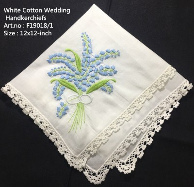 Set Of 12 Fashion Wedding Bridal Handkerchiefs White Cotton Hankies With Lace Edged And Color Embroidered Floral For Bride Gifts