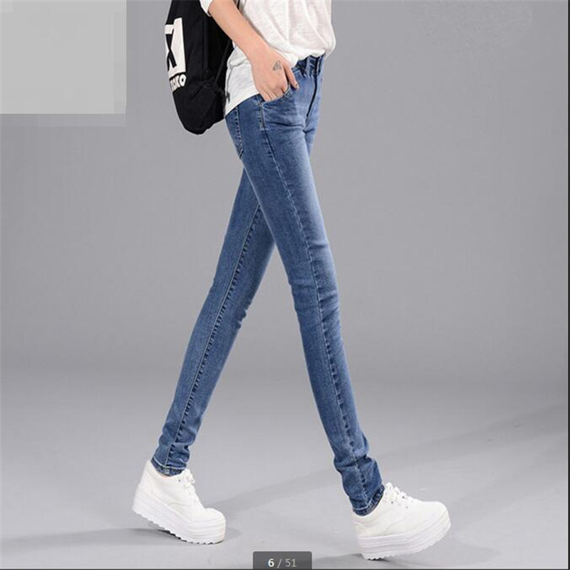2016Autumn New Fashion Jeans Female Little Pencil Pants Stretch Cultivate one s morality Long Pants Han