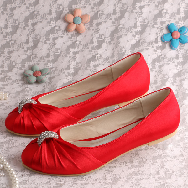 (20 Colors)Custom Handmade Red Satin Ballet Flats Bridal Shoes Wedding Closed Toe