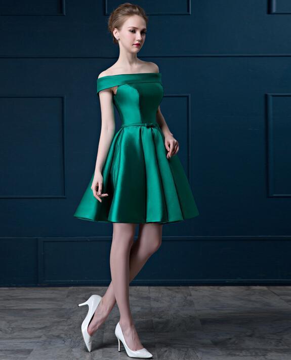 Элегантный вырез лодочка открытые плечи коктейльный платье короткий рукав зеленый и красный атлас пром ну вечеринку платье весна лето - Цвет: Зеленый