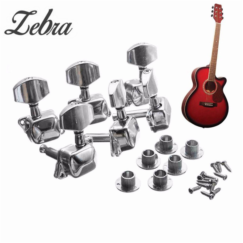 Zebra 6PCS 6L Metal Acoustic Guitar String Semiclosed Tuning Pegs Tuners Guitar Tuning Peg Machine Heads Tuners gold guitar locking tuners electric guitar machine heads tuners jn 07sp lock tuning pegs with packaging