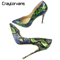 Craylorvans Top Quality High Heels Snake Printing Women Shoes Stiletto 12CM Heel Height Wedding Party Sexy