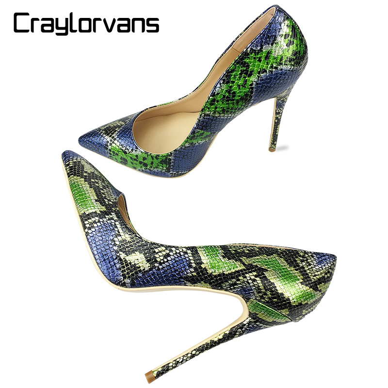 Craylorvans Top Quality High Heels Snake Printing Women Shoes Stiletto 12CM Heel Height Wedding Party Sexy Women Pumps top quality woman shoes fashioned in the concise design and unique pattern fringe decoration stiletto high heels light blue heel