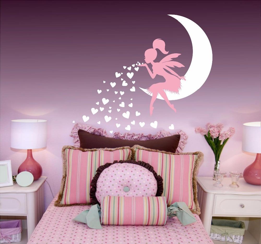 Fairy Blowing Hearts Wall Sticker Nursery Art Mural Stars Vinyl Decal Home Girls Bedroom Decor AY0151