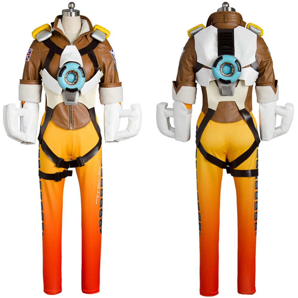 Game OW Cosplay Costume Tracer Lena Oxton Nanosuit Cosplay Uniform Outfit Cloth For Adult Women Full Set Halloween Carnival